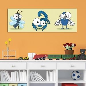 0078  Wall art decoration for kids Cute animals in blue
