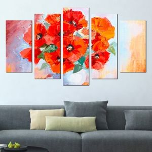 0292 Wall art decoration (set of 5 pieces) Poppies