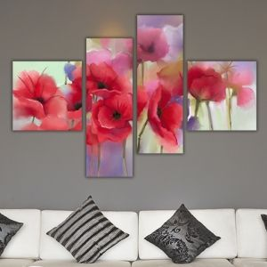 0240 Wall art decoration (set of 4 pieces) Poppies