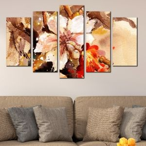 0131 Wall art decoration (set of 5 pieces) Art flower