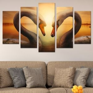 0641  Wall art decoration (set of 5 pieces) Swans