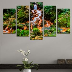 0644 Wall art decoration (set of 5 pieces) Landscape with waterfall