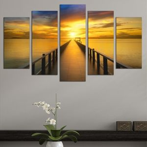 0559 Wall art decoration (set of 5 pieces)  Sea sunset with pier