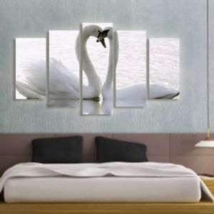 0097 Wall art decoration (set of 5 pieces) Swans in love