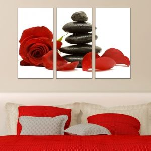 0105 Wall art decoration (set of 3 pieces)  SPA - red rose