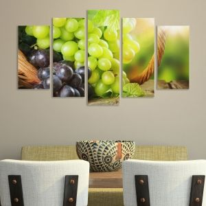0107 Wall art decoration (set of 5 pieces) Grapes