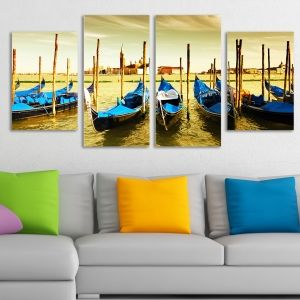 0044  Wall art decoration (set of 4 pieces)  Boats-Venice