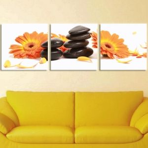 0061 Wall art decoration (set of 3 pieces) Orange gerberas