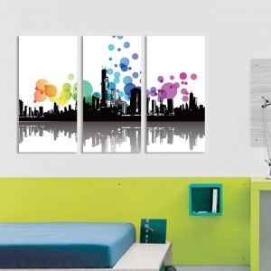 0081 Wall art decoration (set of 3 pieces) Modern City