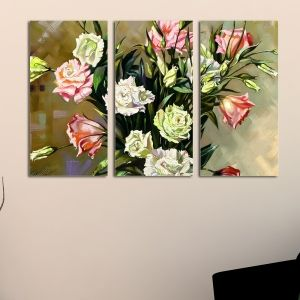 0019 Wall art decoration (set of 3 pieces)  Delicate roses