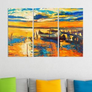 0007 Wall art decoration (set of 3 pieces) Colorful sunset
