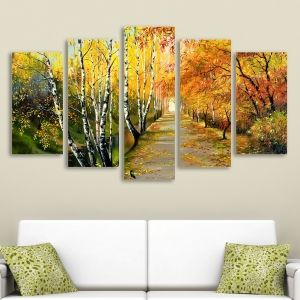 0016 Wall art decoration (set of 5 pieces) Autumn path