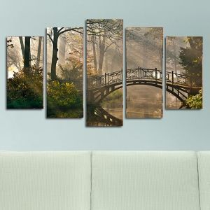 0127 Wall art decoration (set of 5 pieces) Bridge in the forest