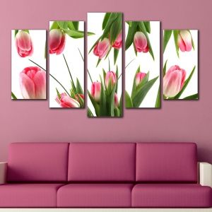 0140  Wall art decoration (set of 5 pieces) Tulips
