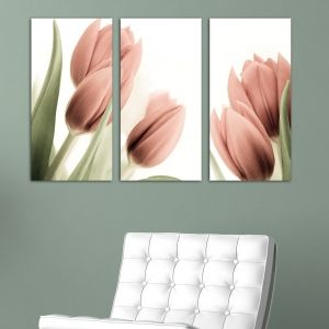 0141 Wall art decoration (set of 3 pieces) Soft pink tulips