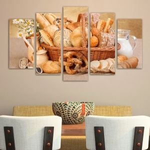 0148  Wall art decoration (set of 5 pieces) Bread products