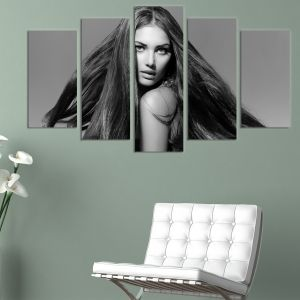 0151  Wall art decoration (set of 5 pieces) Beautiful hair