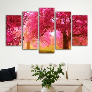 0014 Wall art decoration (set of 5 pieces) Cherry Blossoms Trees