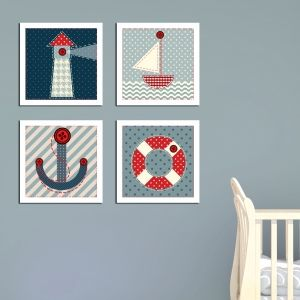 0173  Wall art decoration for kids (set of 4 pieces) Sailor