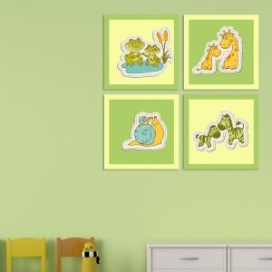 0175_4  Wall art decoration for kids (set of 4 pieces) Animals couples (green and yellow)