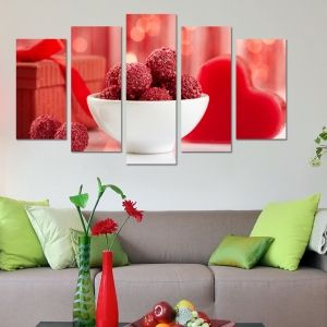0178  Wall art decoration (set of 5 pieces) Homemade sweets