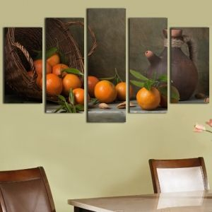 0179  Wall art decoration (set of 5 pieces) Composition with oranges