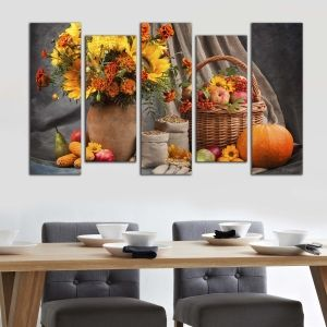 0181  Wall art decoration (set of 5 pieces) Composition with fuits and flowers