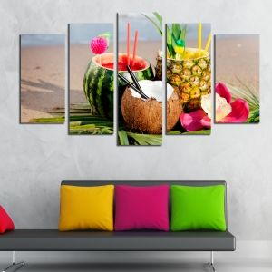 0182  Wall art decoration (set of 5 pieces) Exotic cocktails
