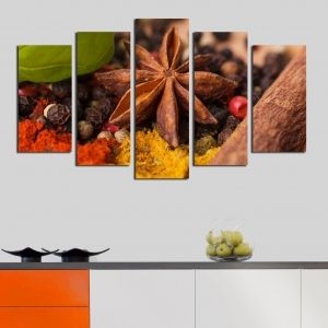 0185  Wall art decoration (set of 5 pieces) Spicery