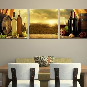 0187 Wall art decoration (set of 3 pieces) Wine and grapes