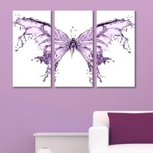 0191 Wall art decoration (set of 3 pieces) Abstract butterfly