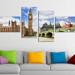 0197 Wall art decoration (set of 4 pieces) London