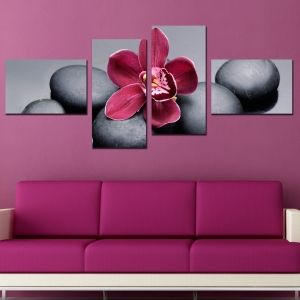 0200 Wall art decoration (set of 4 pieces) Purple orchid