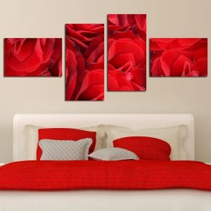 0201_1 Wall art decoration (set of 4 pieces) Red roses