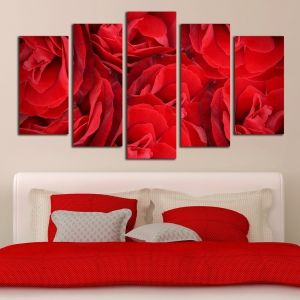 0201_2 Wall art decoration (set of 5 pieces) Red roses