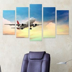 0217 Wall art decoration (set of 5 pieces) Airplane