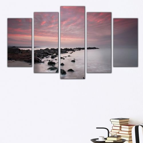 Modern wall art for living room with sea sunset
