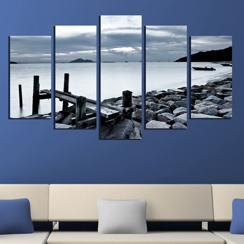 Canvas wall art Sea landscape in black and white