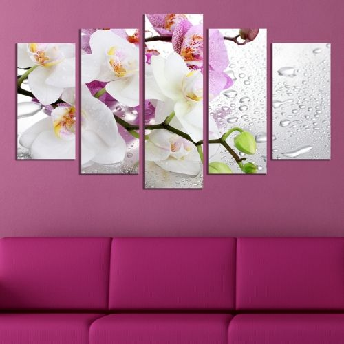 wall decoration white and purple orchids