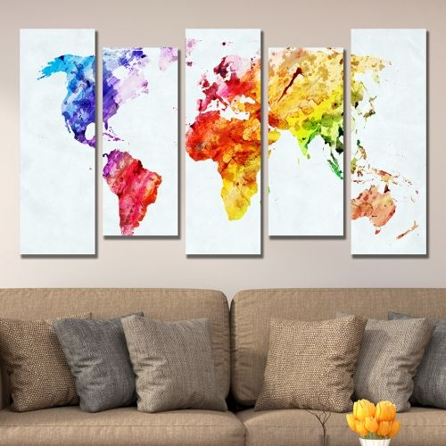 Аbstract wall decoration set with map