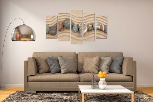 0046 Wall art decoration (set of 4 pieces) Sand and stones