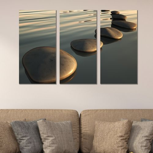 canvas wall art set step stones in the sea