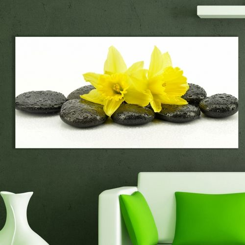 Zen wall decoration with yellow narcissus