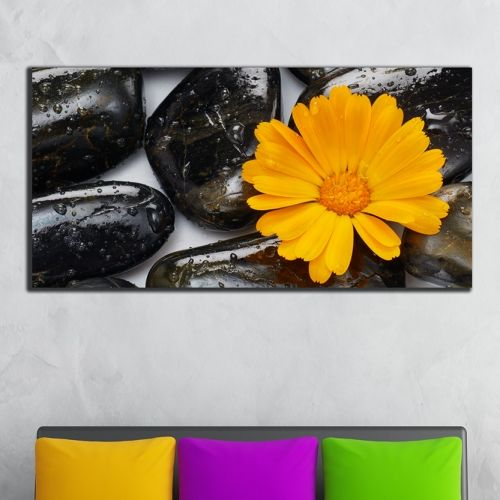 Zen wall decoration with orange flower and spa stones