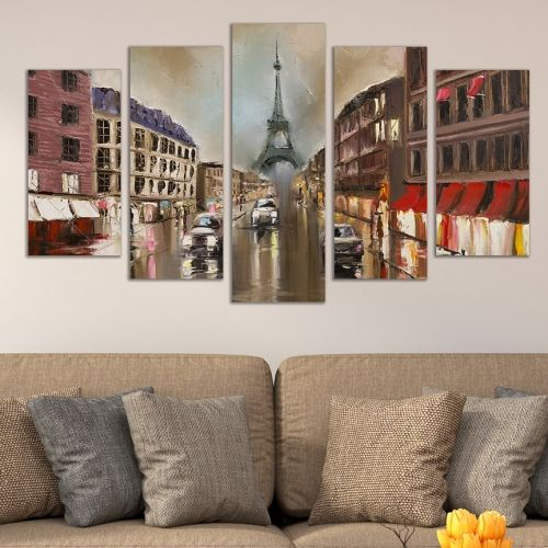 Canvas art set 5 pieces Paris cityscape