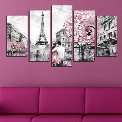 Bedroom canvas art set 5 pieces Lovers in Paris