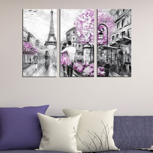 canvas wall art decoration for bedroom in purple