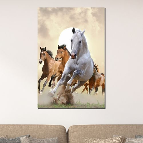 Wall art decoration brown and white Horses