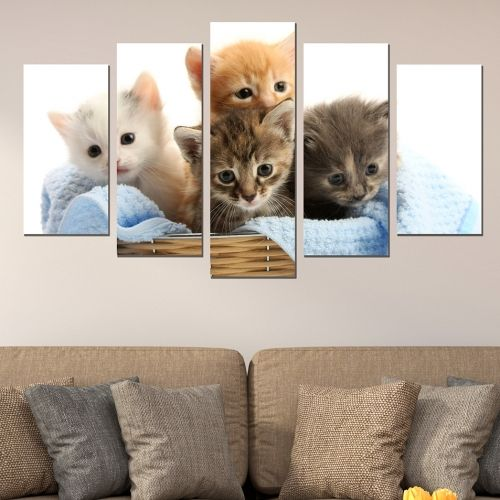 Canvas and pvc wall art set of 5 pices with kittens