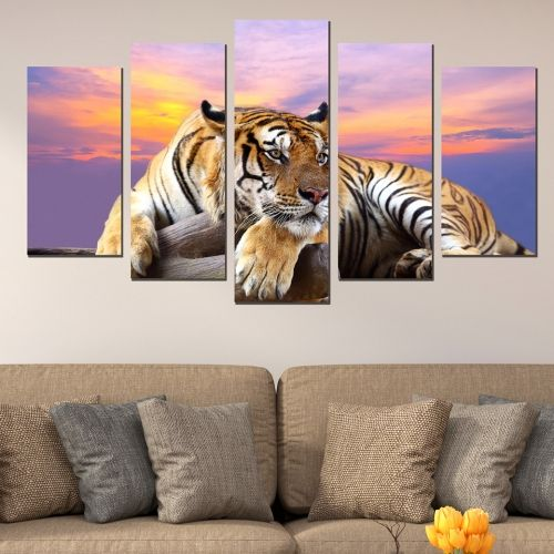 Canvas and pvc wall art set of 5 pices with camels in orange